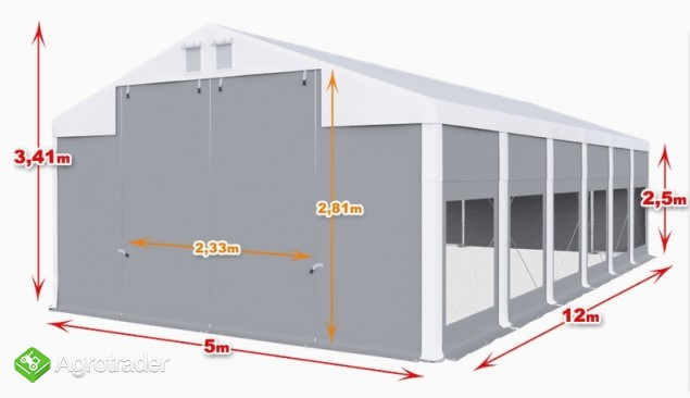 Całoroczna Hala namiotowa 5m × 12m × 2,5m/3,41m